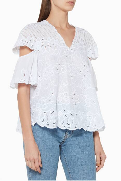 White Scalloped Embroidered Top
