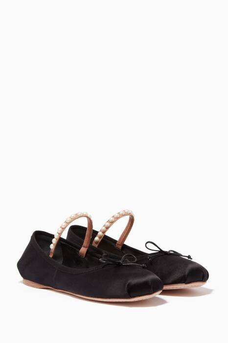 Black Silk & Pearl Embellished Ballerinas