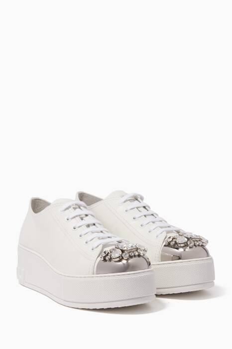 White Jewel-Toe Flatform Sneakers