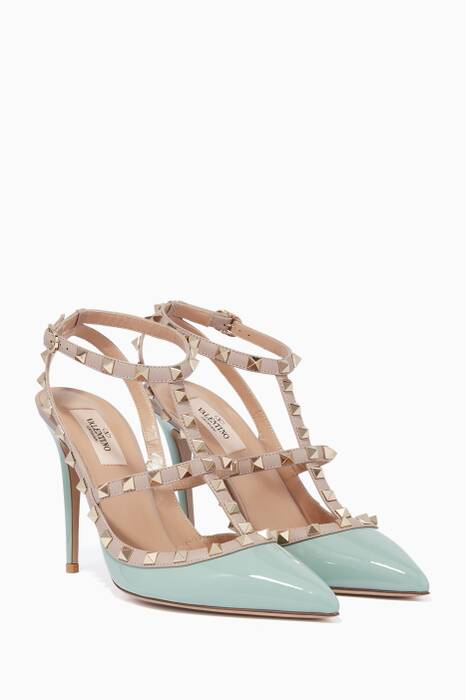 Light-Green Single-Strap Rockstud Patent Pumps