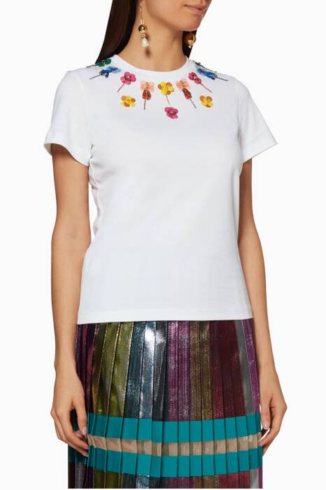 White Embroidered Iven T-Shirt