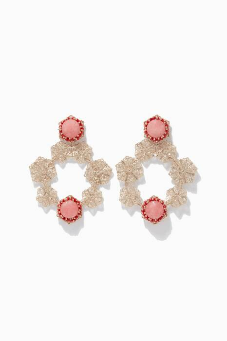 Pink & Gold-Tone Brass Corte Earrings