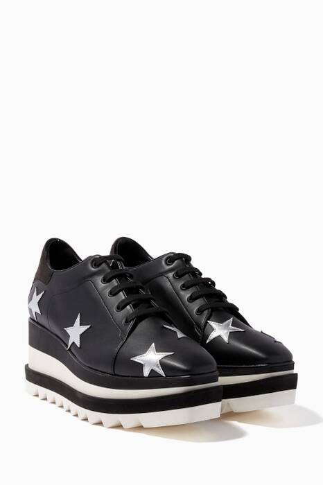 Black Elyse Metallic Star Sneakers