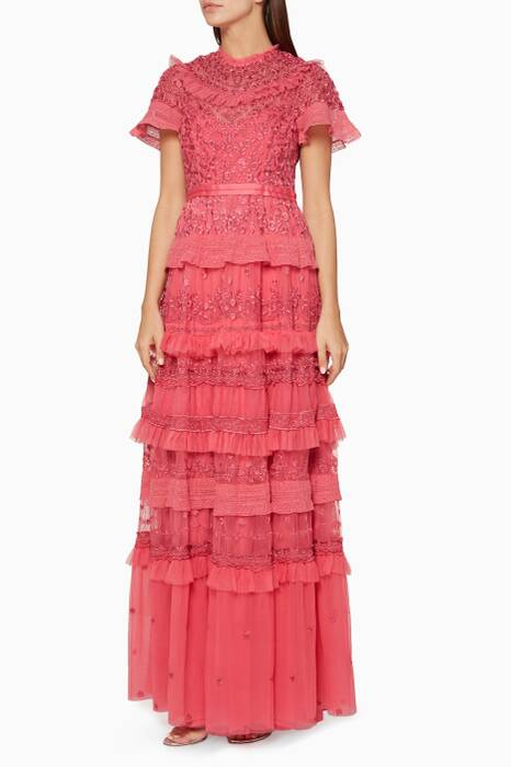 Bright-Pink Iris Embroidered Gown