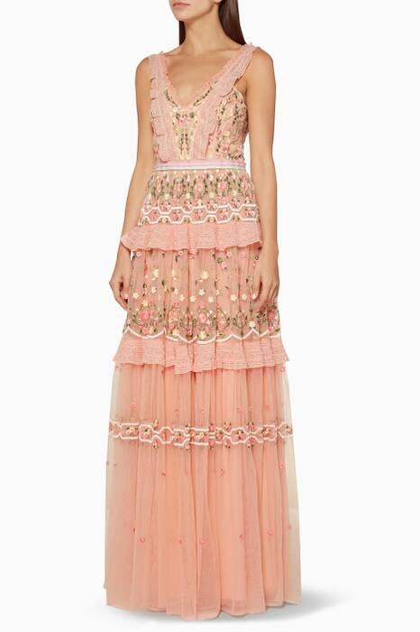 Coral-Lattice Rose Sleeveless Gown