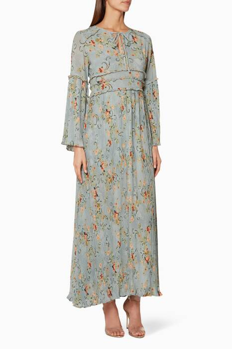 Dove-Blue Floral Printed Adele Maxi Dress
