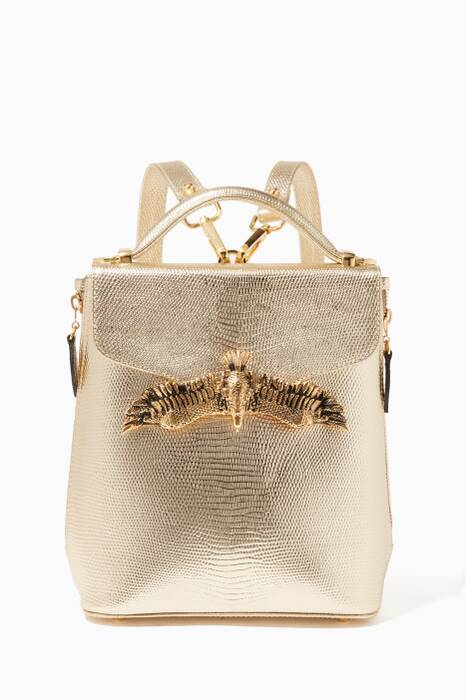 Gold Mini Lizard-Effect Leather Backpack