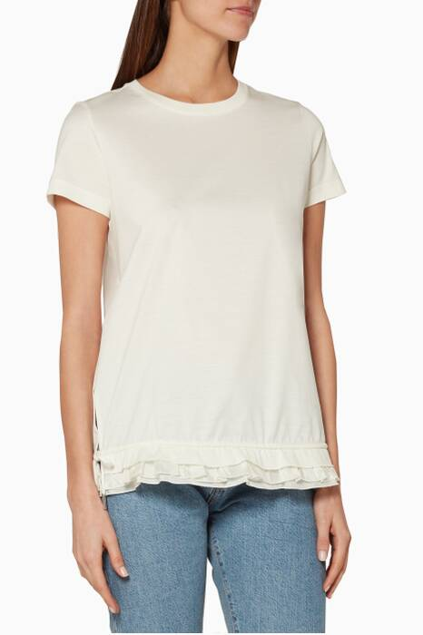 White Ruffled-Hem Top