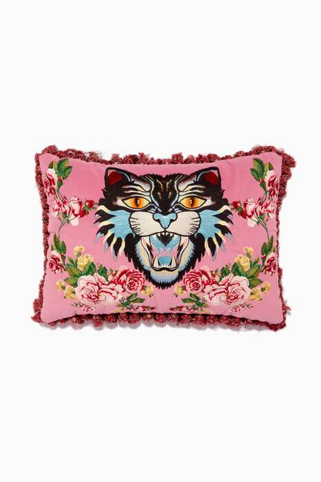 Pink Velvet Angry Cat Cushion