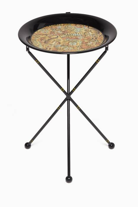 Black Tigers Print Metal Folding Table