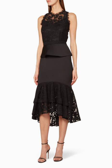 Black Lace Peplum Midi Dress