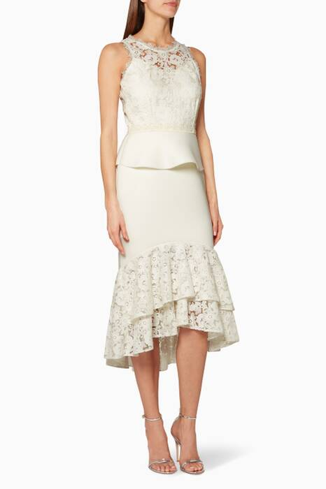 Ivory Lace Peplum Midi Dress