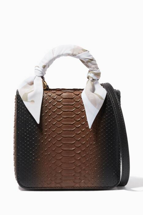 Brown Python Square F Baby Top Handle Bag