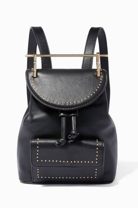 Black Mini Studded Leather Backpack