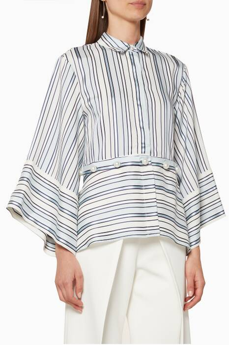 Blue & White Adette Striped Top