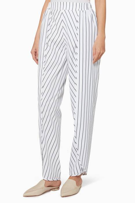 White Striped Drawstring Tulip Pants
