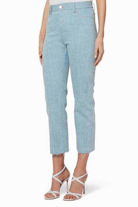 Light-Blue Cropped Raw-Hem Jeans