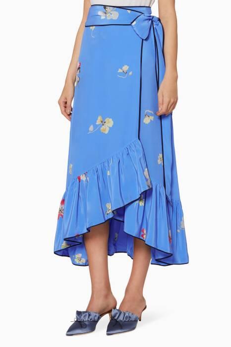 Blue Floral Printed Joycedale Wrap Skirt