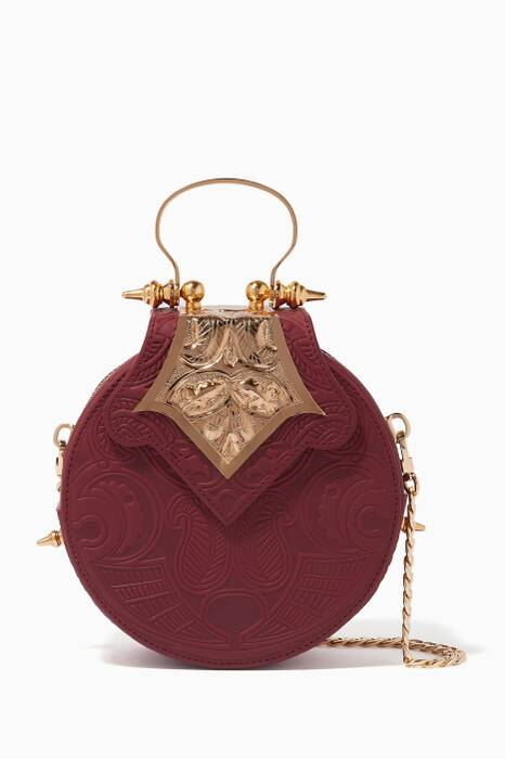 Burgundy Mini Dome Top-Handle Bag