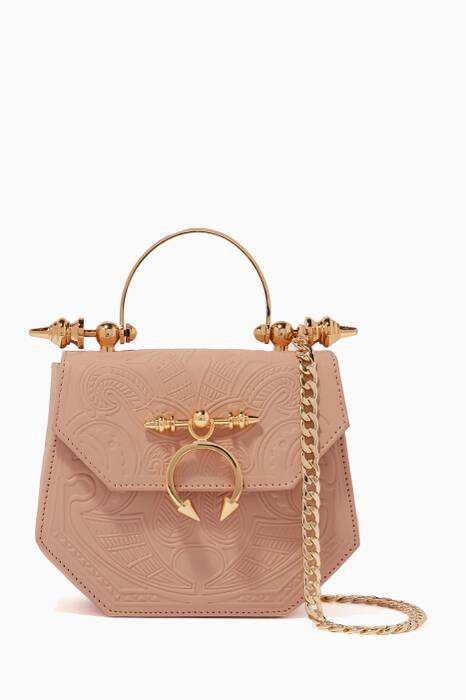 Light-Beige Aziza Leather Shoulder Bag