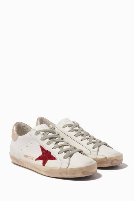 White & Red Glitter-Embellished Low-Top Superstar Sneakers