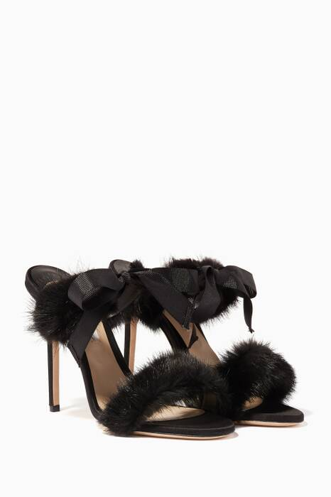 Black Decouverte Mink-Trimmed Bow Sandals