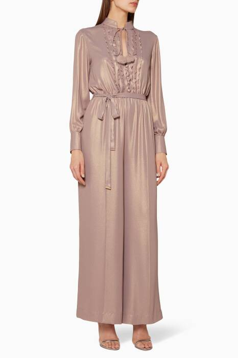 Light-Pink Ruffled Long Sleeve Jumpsuit