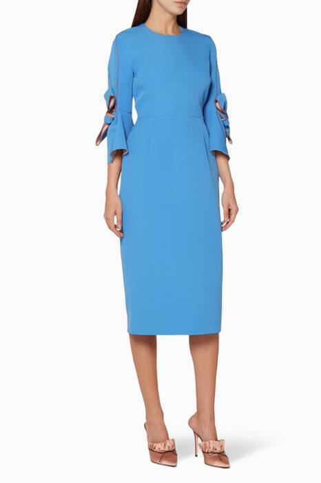 Blue Bow-Detailed Midi Dress
