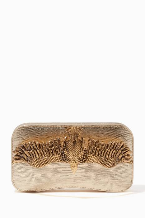 Gold Soaring Eagle Croc-Embossed Bag