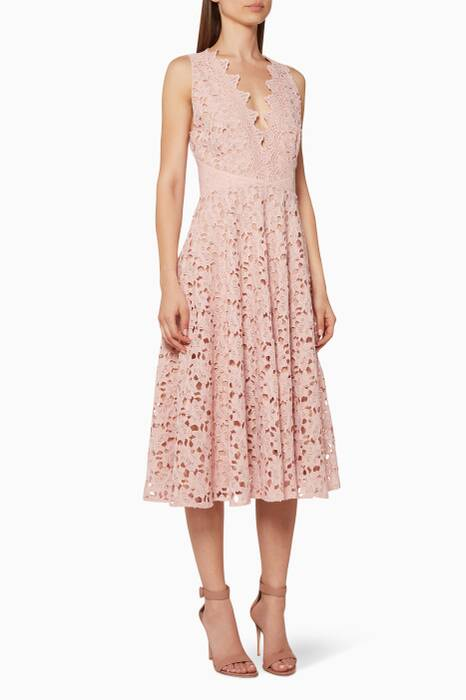 Light-Pink Ashley Lace Midi Dress