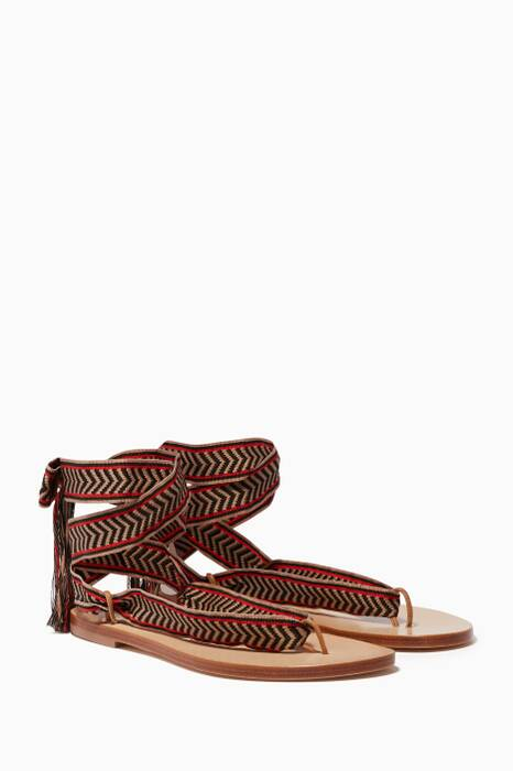 Red Safari Embroidered Sandals