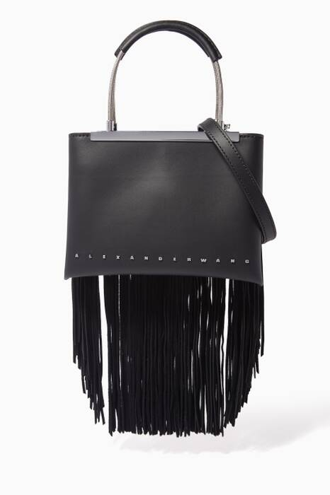 Black Small Dime Fringe Satchel Bag