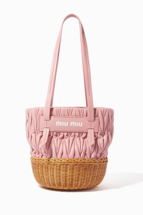 Pink Matelassé-Leather Basket Bag