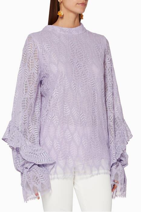 Purple Ruffled Sleeves Lace Top