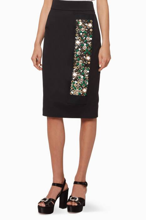 Black Embellished Pencil Skirt