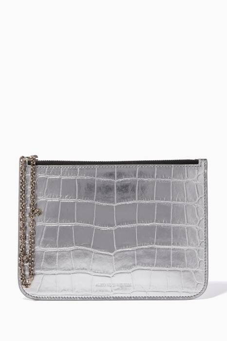 Silver Croc-Embossed Leather Clutch