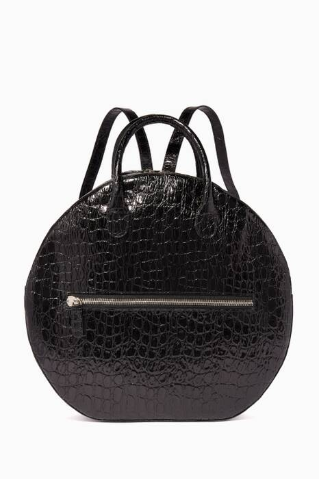 Black Crocodile-Embossed Brass Drum Top Handle Bag