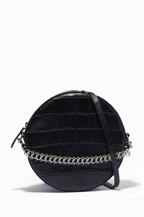 Black Tambourine Croc-Embossed Cross-Body Bag