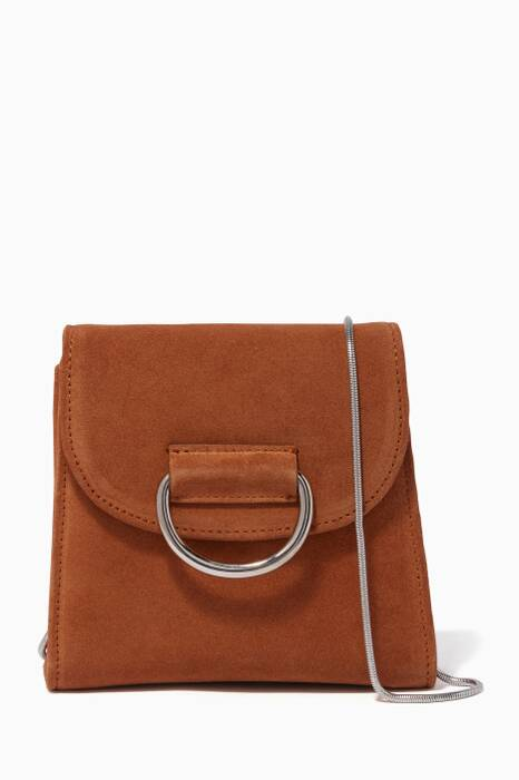 Brown Tiny Box D Suede Leather Cross-Body Bag