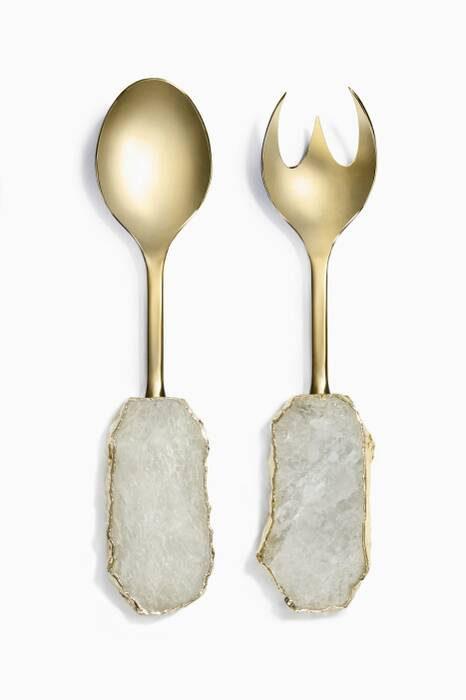 Gold Scossa Crystal Salad Servers, Set Of 2