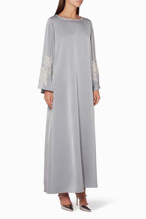 Light-Grey Flower Cut Beaded Kaftan