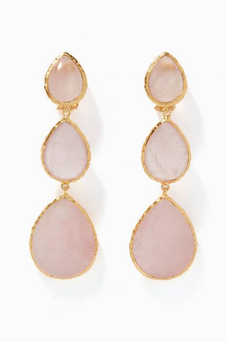 Gold & Rose Quartz Nikki Earrings