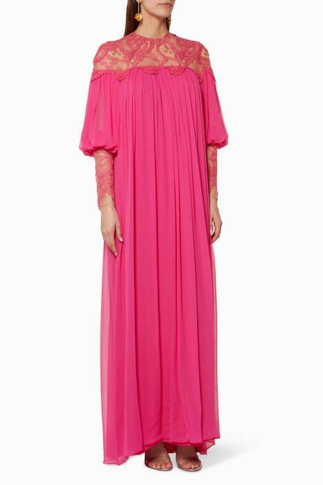 Pink Long-Sleeve Lace-Yoke Gown