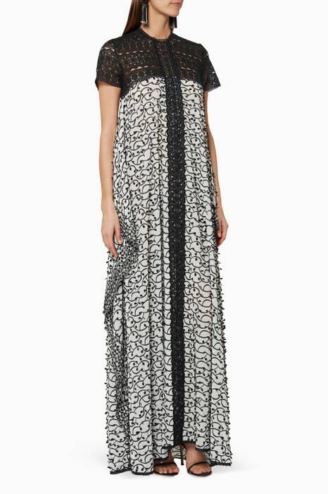 Black & White Embroidered Maxi Dress