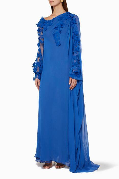 Dark-Blue Embellished Gown