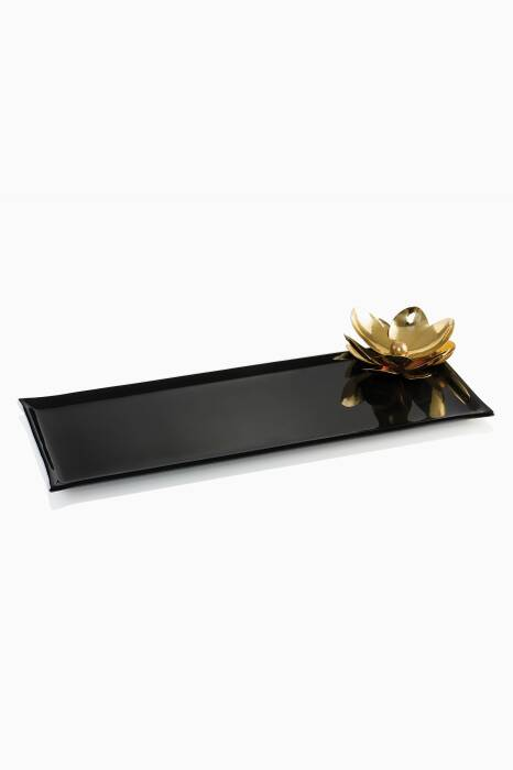 Black Platter With Gold Plated Magnolia