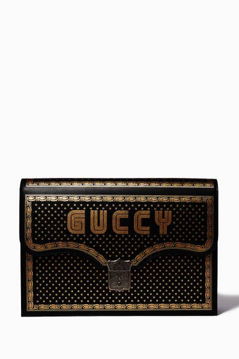 Black Guccy Portfolio Clutch