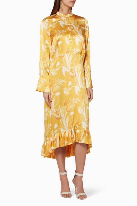 Yellow Floral-Print Anner Midi Dress