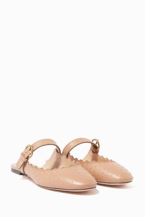 Light-Pink Scalloped Mary Jane Mules