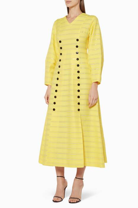 Yellow Striped Button-Detail Dress